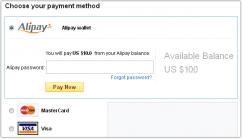 Оплата заказа с кошелька Alipay